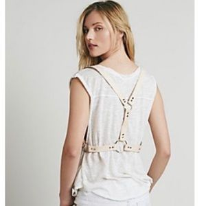 Free People Bowery Leather Harness Vest Belt